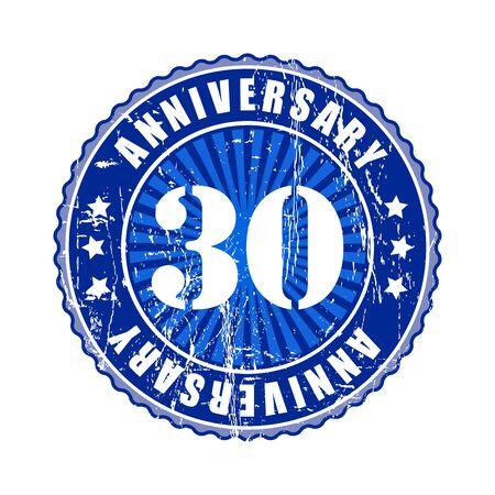30 years: 30   Years anniversary stamp. Stock Photo
