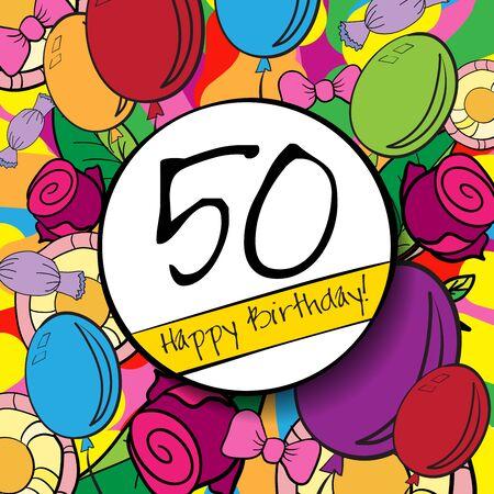50 Buon compleanno sfondo o carta con sfondo colorato.