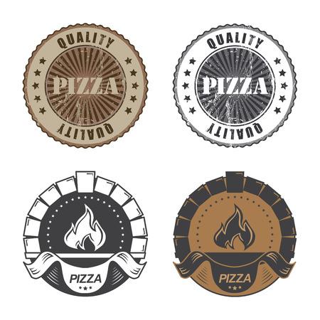 Set of vintage pizzeria labelsand stamps. Vector illustration. Archivio Fotografico