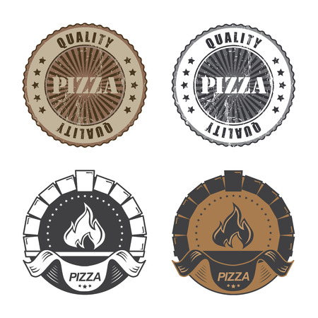 Set of vintage pizzeria labels and stamps.  Vector illustration.