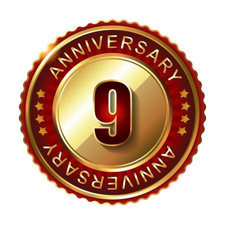 top class: 9 Years anniversary golden label. Stock Photo