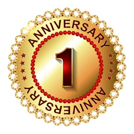 1 year anniversary: 1 Year  anniversary golden label.