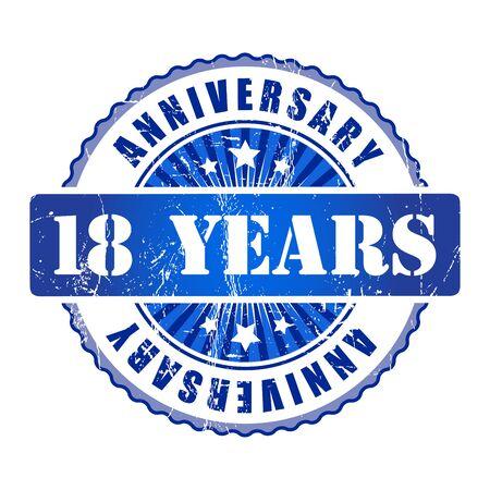 18: 18 Years anniversary stamp. Stock Photo