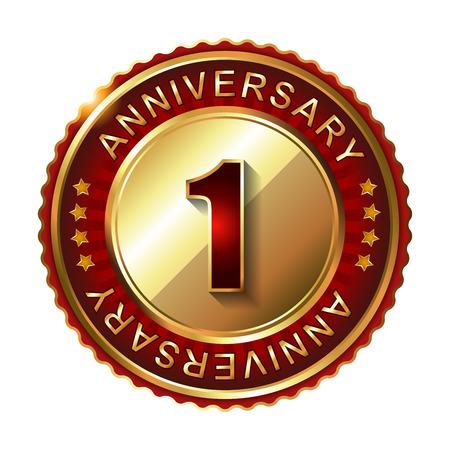 1: 1 Year  anniversary golden label.