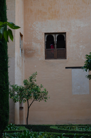 mudejar: Typical andalusian mudejar courtyard In Granada, Spain. Stock Photo