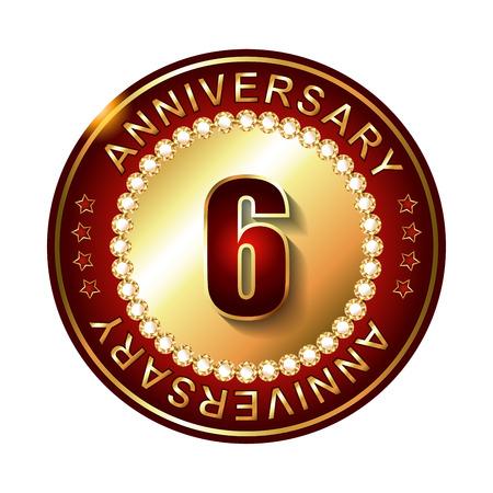 6 years: 6 Years anniversary golden label. Stock Photo