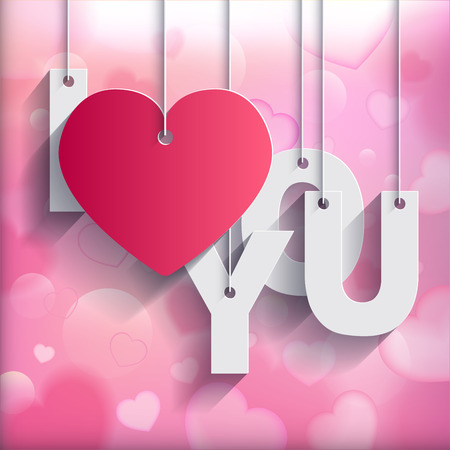 i love you heart: I LOVE YOU - Paper Origami card on heart blurred background. Vector illustration.