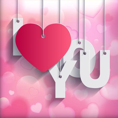 te amo: TE AMO - Tarjeta de papel de Origami en el coraz�n fondo borroso. Ilustraci�n del vector. Foto de archivo