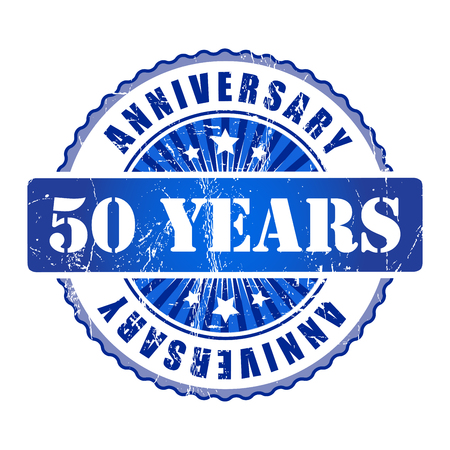 top 50 icon: 50 Years anniversary stamp. Stock Photo