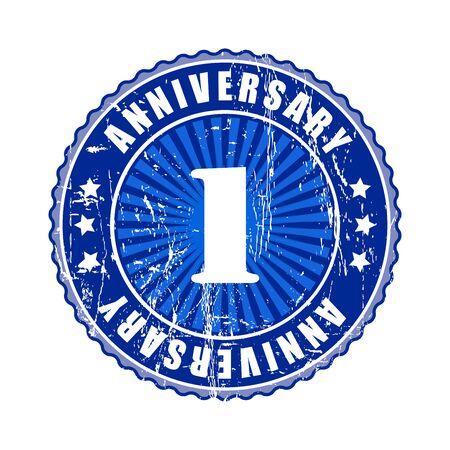 1 year anniversary: 1 Year  anniversary stamp. Stock Photo