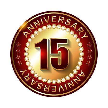 15 years: 15 Years anniversary golden label. Stock Photo