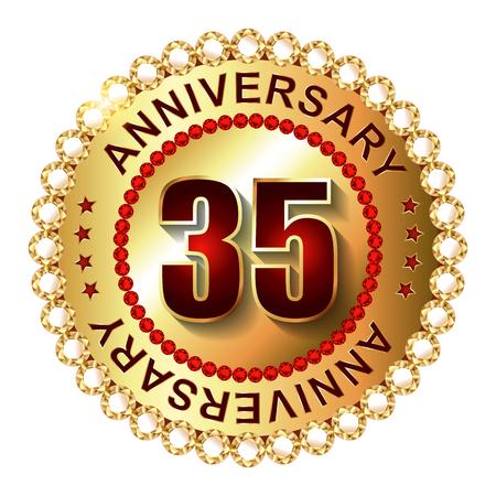 35: 35 a�os de aniversario etiqueta de oro.