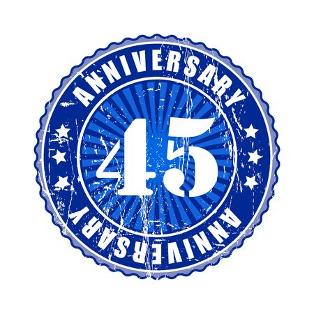 45: 45  Years anniversary stamp. Stock Photo