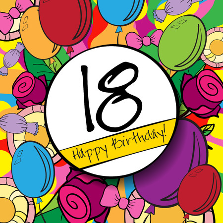 happy birthday 18: 18 Happy Birthday background or card with colorful background.