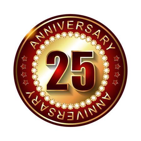 25: 25 Years anniversary golden label. Stock Photo