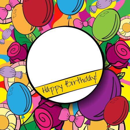 marco cumpleaños: Fondo de cumpleaños feliz o tarjeta con el fondo colorido.