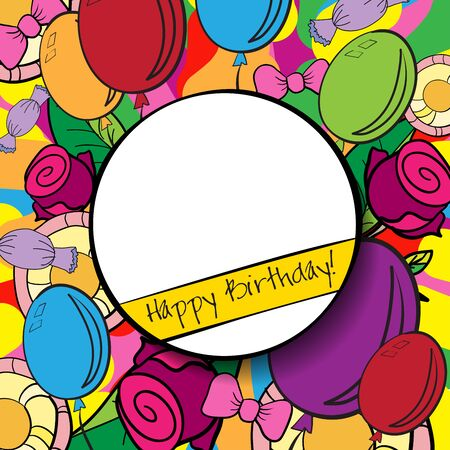 decorative background: Happy Birthday background or card with colorful background.