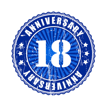 happy birthday 18: 18   Years anniversary stamp.