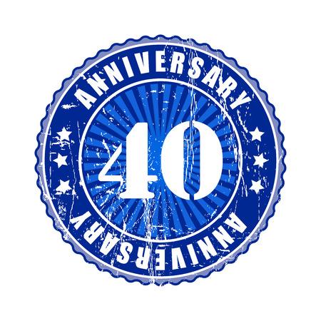 40: 40  Years anniversary stamp. Stock Photo
