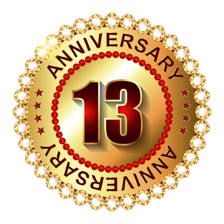13: 13 Years anniversary golden label.