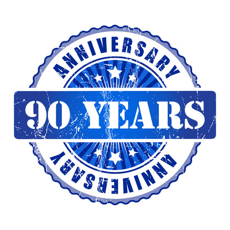 90 years: 90 Years anniversary stamp. Stock Photo