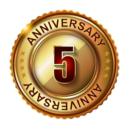 5 years: 5 Years anniversary golden label. Stock Photo