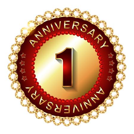 1 year: 1 Year  anniversary golden label.