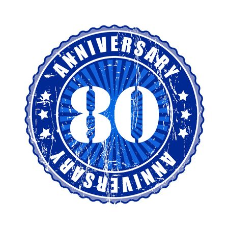 80: 80  Years anniversary stamp.