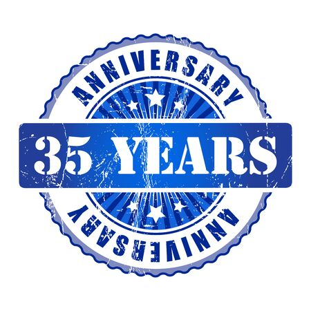 35 years: 35 Years anniversary stamp. Stock Photo