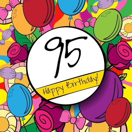 95: 95 Happy Birthday background or card withcolorful background. Archivio Fotografico