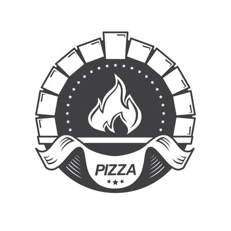 Template vintage pizzeria label. Vector illustration.