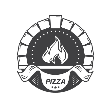 pizza oven: Template vintage pizzeria label.  Vector illustration. Stock Photo