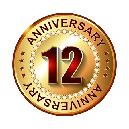 a 12: 12 Years anniversary golden label.