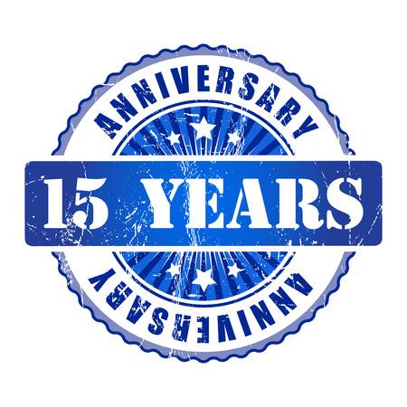15 years: 15 Years anniversary stamp.