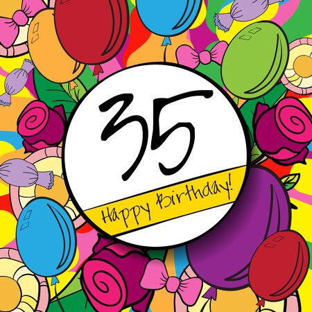 35: 35 Happy Birthday background or card with colorful background. Stock Photo
