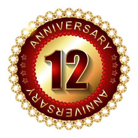 12: 12 Years anniversary golden label.