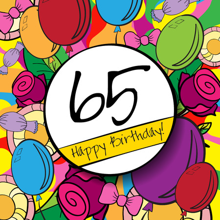 65: 65 Happy Birthday background or card with colorful background.