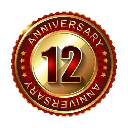 12 class: 12 Years anniversary golden label.