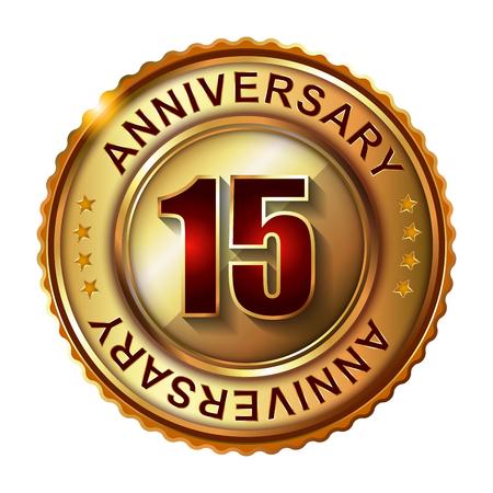 15: 15 Years anniversary golden label. Stock Photo