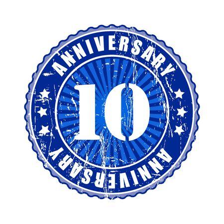 10 years: 10   Years anniversary stamp. Stock Photo