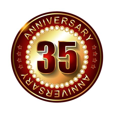 35 Years Anniversary Golden Label Stock Photo Picture And Royalty