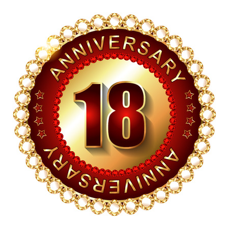 happy birthday 18: 18 Years anniversary golden label. Stock Photo