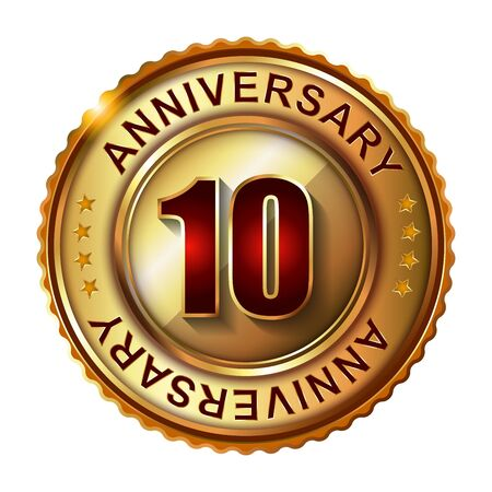 10 years: 10 Years anniversary golden label.