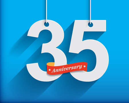 beautiful anniversary: 35 Anniversary numbers with ribbon. Flat origami style with long shadow. Vector illustration Stock Photo