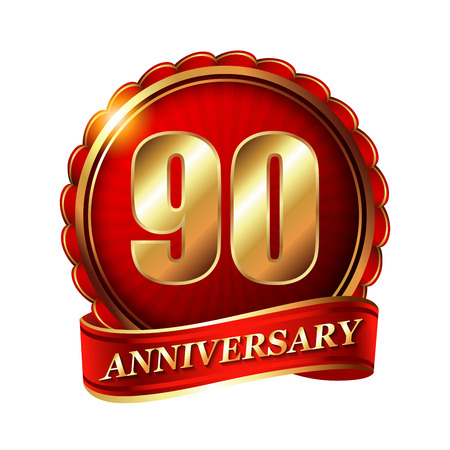 90th: 90 years anniversary golden label with ribbon. Stock Photo