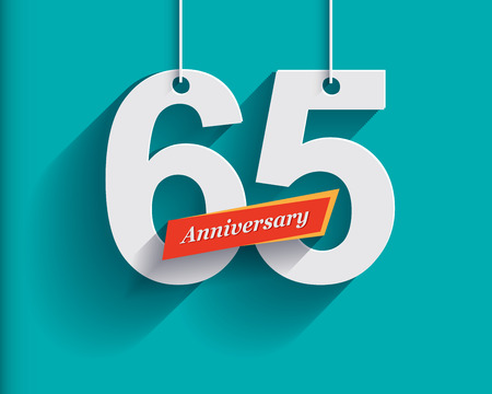 65th: 65 Anniversary numbers with ribbon. Flat origami style with long shadow. Vector illustration