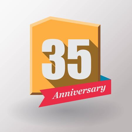 35: 35 Anniversary   label with ribbon. Flat design. Stock Photo