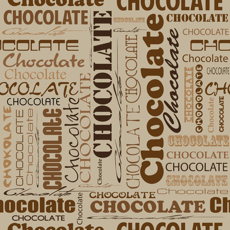 Seamless chocolate pattern with word of chocolate with different fonts.  Style for chocolate house, restaurant, cafe, bar.