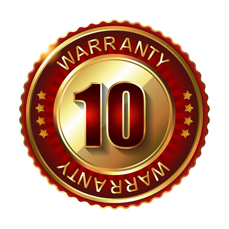 10 years warranty golden label with ribbon. 