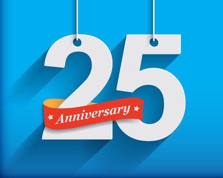 25th: 25 Anniversary numbers with ribbon. Flat origami style with long shadow. Vector illustration